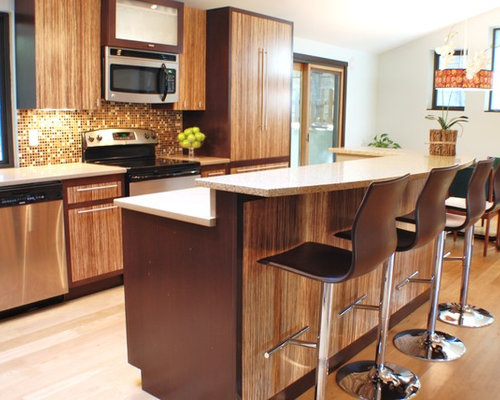 Captivating Contemporary Eat In Kitchen Idea In Boise With Flat Panel Cabinets, Medium  Tone Part 3