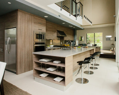 Contemporary Open Concept Kitchen Appliance   Example Of A Trendy Galley  White Floor Open Concept Kitchen