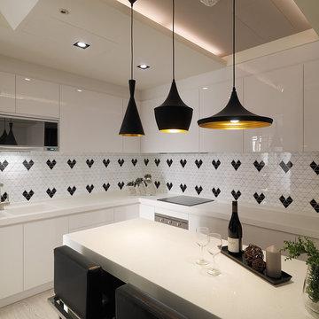 Modern Kitchen Backsplash Triangular Porcelain Mosaic Tile