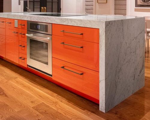 Beautiful Mid Sized Modern Open Concept Kitchen Ideas   Mid Sized Minimalist Galley  Medium Tone