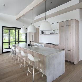 Ispirazione per una cucina moderna con ante in legno chiaro, top in cemento, lavello sottopiano, ante lisce, elettrodomestici da incasso, pavimento in legno massello medio, pavimento marrone e top grigio