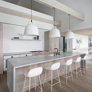 Modern kitchen ideas - Example of a minimalist light wood floor kitchen design in Milwaukee with light wood cabinets, concrete countertops and an island