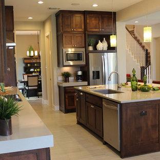 Modern kitchen cabinets with dark stain