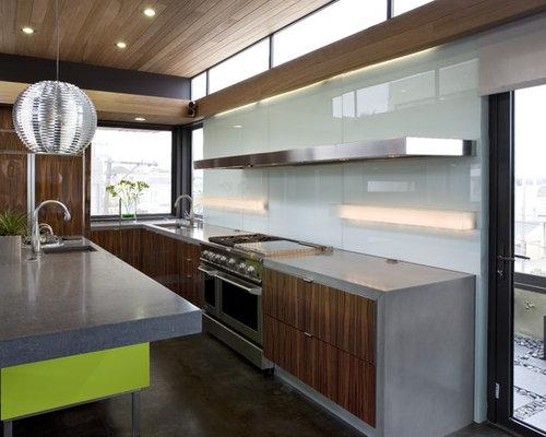 Waterfall concrete countertop home design ideas pictures for Concrete kitchen cabinets designs