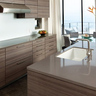 Modern eat-in kitchen ideas - Inspiration for a modern single-wall dark wood floor and brown floor eat-in kitchen remodel in Philadelphia with an undermount sink, quartz countertops, flat-panel cabinets, dark wood cabinets, brown backsplash and an island