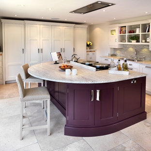 Kitchen - large transitional l-shaped kitchen idea in Other with an undermount sink, shaker cabinets, white cabinets, marble countertops, gray backsplash, stone slab backsplash, paneled appliances and an island