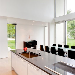 Modern kitchen inspiration - Kitchen - modern kitchen idea in Milwaukee with flat-panel cabinets and white cabinets