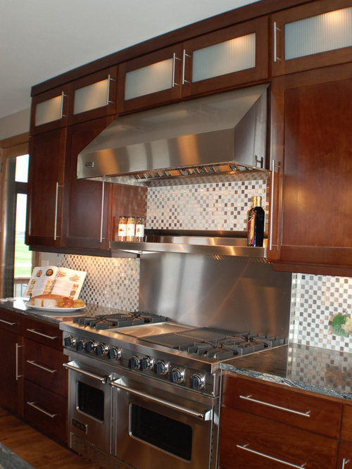 Stainless Backsplash With Shelf Home Design Ideas