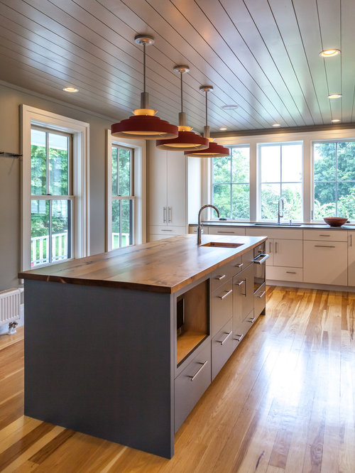 Modern kitchen in historic vermont home for Kitchen cabinets vermont