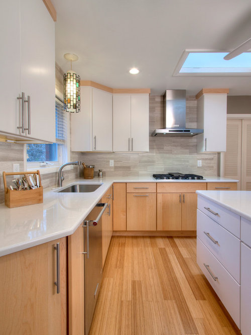 Midcentury Kitchen Design Ideas Renovations Photos With Bamboo Flooring