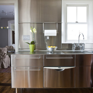 Transitional Kitchen Photo In Other With Stainless Steel Countertops An Integrated Sink