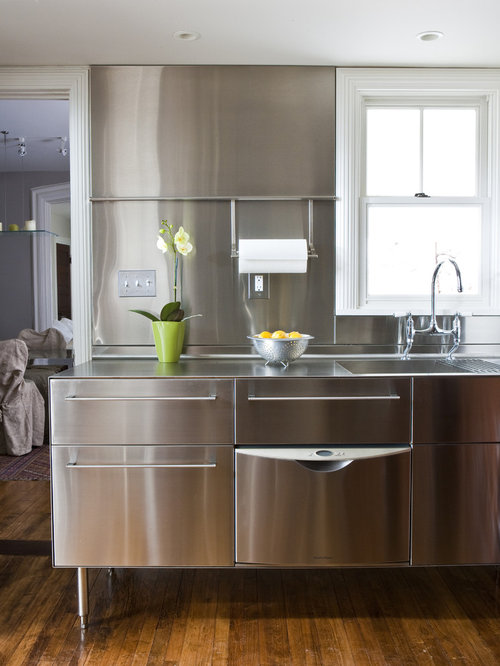 Transitional Kitchen Photo In Other With Stainless Steel Countertops, An  Integrated Sink, Stainless Steel