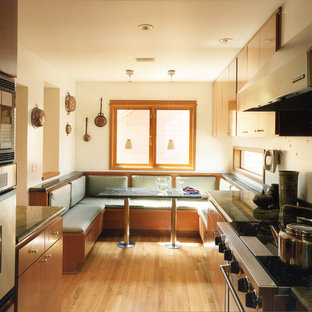 Inspiration for a modern galley kitchen in Seattle with stainless steel appliances and granite benchtops.