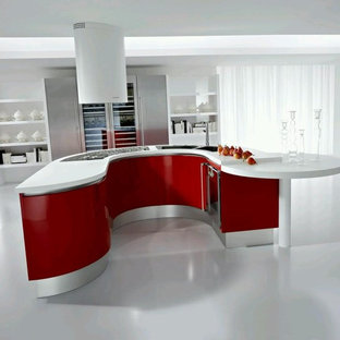 Large contemporary single-wall eat-in kitchen in Miami with a double-bowl sink, open cabinets, red cabinets, solid surface benchtops, stainless steel appliances, concrete floors, with island and white floor.