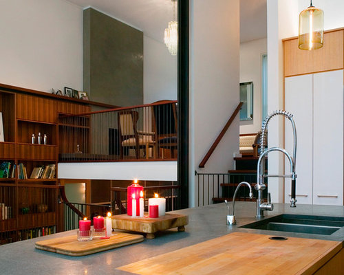 modern kitchen idea in new york with an undermount sink