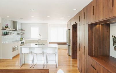 Inside Houzz: A Walnut Wall of Storage Opens Up a Kitchen