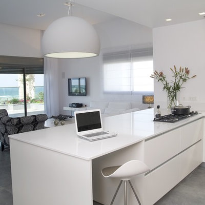 Example of a minimalist open concept kitchen design in Other with flat-panel cabinets and white cabinets