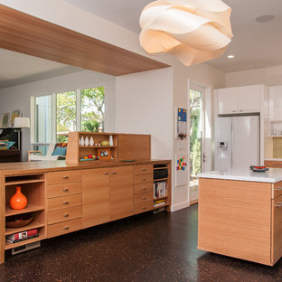 Example Of A Minimalist Open Concept Kitchen Design In San Francisco With  Flat Panel Cabinets