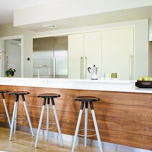 ニューヨークの大きいモダンスタイルのおしゃれなキッチン (フラットパネル扉のキャビネット、黄色いキャビネット、アンダーカウンターシンク、白いキッチンパネル、ガラス板のキッチンパネル、シルバーの調理設備の、淡色無垢フローリング) の写真