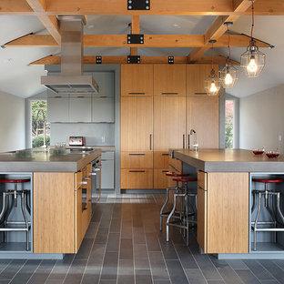Modelo de cocina contemporánea, grande, con fregadero integrado, armarios con paneles lisos, puertas de armario de madera clara, encimera de cemento, electrodomésticos con paneles, suelo de azulejos de cemento, dos o más islas, suelo gris y encimeras grises