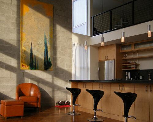 Cinder block walls houzz - Covering interior cinder block walls ...