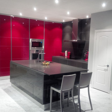 Modern Kitchen Style, Recessed Lighting, High Gloss Cabinets, Red and Gray Kitch