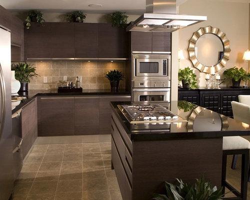 Nice Mid Sized Modern Enclosed Kitchen Ideas   Mid Sized Minimalist L Shaped  Ceramic