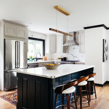 Modern Kitchen Transformation with Mudroom Nook and Eclectic Dining Room