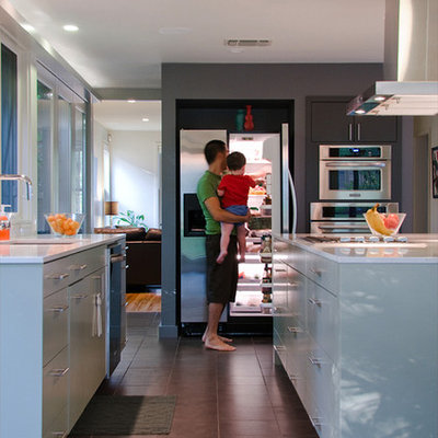 Kitchen - contemporary kitchen idea in Other with stainless steel appliances, flat-panel cabinets and gray cabinets