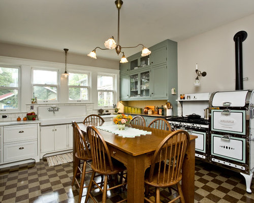 Large Shabby Chic Style Eat In Kitchen Pictures   Example Of A Large Cottage Part 47