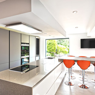 This is an example of a medium sized contemporary galley kitchen in Other with flat-panel cabinets, grey cabinets, granite worktops, integrated appliances, an island, beige floors, grey worktops and a single-bowl sink.