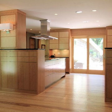 Modern Kitchen with Double Sliding Patio Door, and Two Large Islands