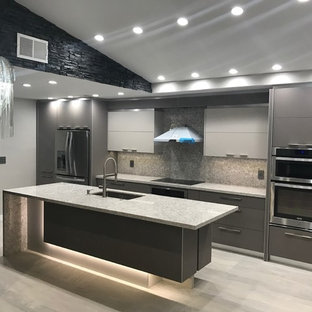 Modern Kitchen with LED Island by VelArt