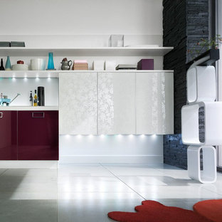 Modern kitchen with mauve colored cabinets
