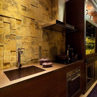 マイアミの中サイズのモダンスタイルのおしゃれなキッチン (アンダーカウンターシンク、フラットパネル扉のキャビネット、中間色木目調キャビネット、セメントタイルのキッチンパネル、シルバーの調理設備) の写真