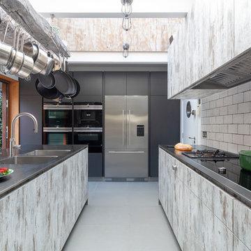 Modern Kitchen with Vintage Door Finish