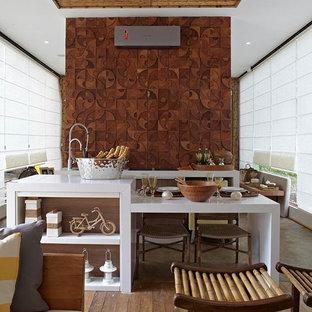 Modern kitchen with wood mosaics