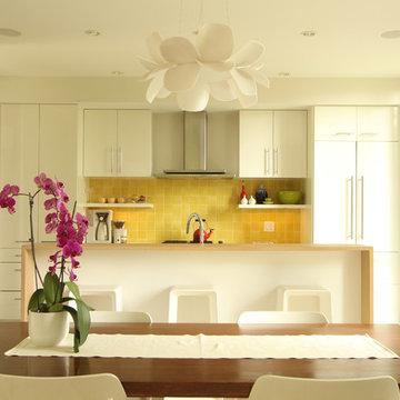 Modern Kitchen with Yellow Backsplash
