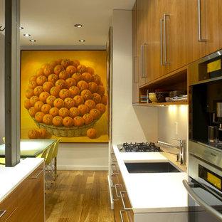 Inspiration pour une petite cuisine parallèle minimaliste avec un électroménager en acier inoxydable, un évier 1 bac, un placard à porte plane, des portes de placard en bois brun, un plan de travail en quartz, un sol en bois brun et une péninsule.