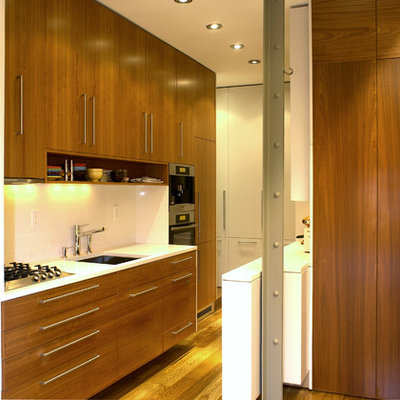 Small minimalist single-wall medium tone wood floor kitchen photo in New York with flat-panel cabinets, medium tone wood cabinets, a single-bowl sink, quartzite countertops, stainless steel appliances and a peninsula