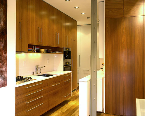 Teak kitchen houzz for Modern teak kitchen cabinets