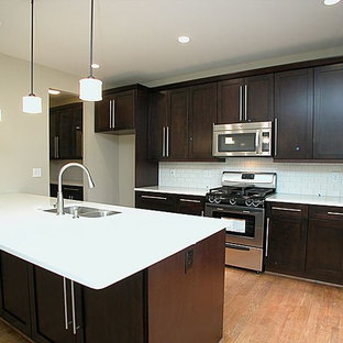 Inspiration For A Mid Sized Modern Galley Medium Tone Wood Floor Open Concept Kitchen Remodel
