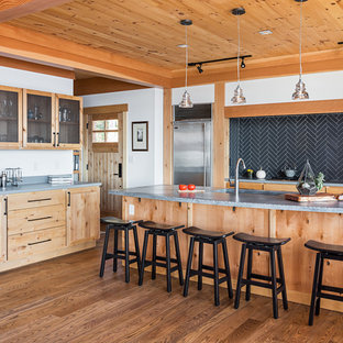Rustic Kitchen Pictures   Kitchen   Rustic L Shaped Medium Tone Wood Floor  And Brown