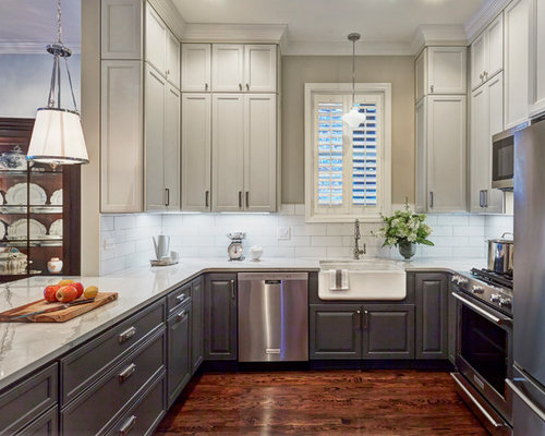 Small Farmhouse Open Concept Kitchen Designs   Example Of A Small Country  U Shaped Dark