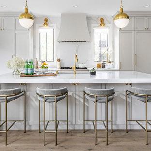 デトロイトの広いトランジショナルスタイルのおしゃれなキッチン (アンダーカウンターシンク、シェーカースタイル扉のキャビネット、青いキャビネット、クオーツストーンカウンター、白いキッチンパネル、クオーツストーンのキッチンパネル、パネルと同色の調理設備、淡色無垢フローリング、茶色い床、白いキッチンカウンター) の写真