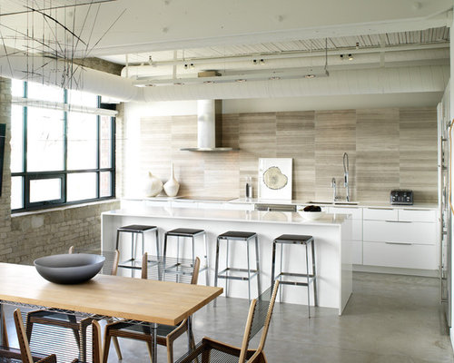 Mid Sized Industrial L Shaped Concrete Floor And Gray Floor Eat In Kitchen