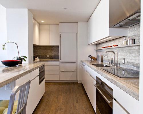 cuisine avec une cr dence grise et une cr dence en travertin photos et id es d co de cuisines. Black Bedroom Furniture Sets. Home Design Ideas