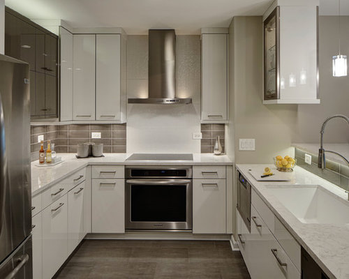 Kitchen   Small Contemporary U Shaped Porcelain Floor Kitchen Idea In  Chicago With An Undermount