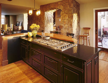 Modern Mountain Flair With Stone Archway and Rustic Kitchen