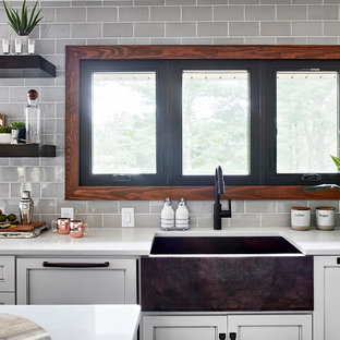 75 Beautiful Rustic Kitchen With Glass Tile Backsplash Pictures